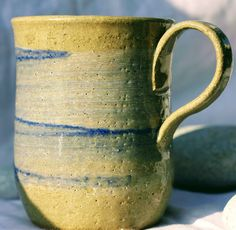 Pottery Mug, Stoneware clay,hi fired, cobalt blue and white slip decorated Blue, Microwave and Dishwasher-safe, Wheel-Thrown by FireonClay on Etsy The Potter's Wheel, White Slip, Gas Fires, Stoneware Mugs, Pottery Mugs, Moscow Mule Mugs, Porcelain, Ranges, Cobalt Blue