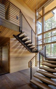 Breathtaking modern mountain retreat with rustic nuances in Lake Tahoe Modern Mountain Home, Home Modern, Staircase Railings, Wooden Staircases, Stairways, Interior Railings, Spiral Staircase, Pole Barn House Plans, Pole Barn Homes