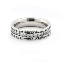 All Things CZ Elegance Ring will encourage you and be a beautiful accessory for you to wear! This new ring is a SonGear staff favorite!     	             Lovely stainless steel band with full channel of CZ gems inscribed with Philippians 4:13     	  I can do all things through CHRIST who is my strength.