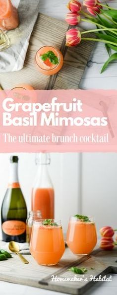 Brunch is better with beverages and these Grapefruit Basil Mimosas are the prefect sipper for Mother's Day (or any day). While you're here be sure to enter my Mother's Day Giveaway and win this gorgeous Ash Serving Board sponsored by J.K. Adams.