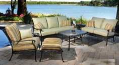 5-Piece Cast Aluminum Outdoor Deep Seating Set - Includes 1 Sofa, 1 Lounge Chair, 1 Spring Lounge, 1 Coffee Table and 1 End Table Enjoy the outdoors again with our high-end 5-Piece Aluminum Outdoor Deep Seating Patio Set, Directly Imported by Rocky Mountain high end patio sets. We purchase the highest quality outdoor patio sets directly from the manufacturer and then pass that savings on to you.