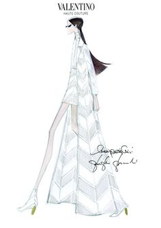 Valentino Look 29 from the NYC all white collection, chevron coat & skirt in crepe silk wool worn with a jasmine muslin blouse. pier paolo piccioli maria grazia chiuri valentino sketch
