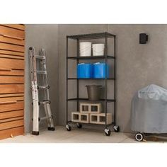 PRO 18 in. Black Anthracite 5 Tier Wire Shelving Rack with Wheels