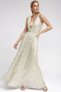08bcc90859 All that Shimmers is Gold Light Gold Maxi Dress 1 Gold Bridesmaid Dresses