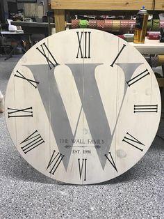CUSTOMIZE YOUR 36 Large MONOGRAMED Clock Coastal shabby