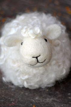 White wool needle felted Sheep by Teresa Perleberg
