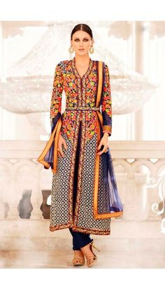 Navy Blue Georgette Trouser Suit With Dupatta - DMV14939