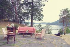 Our outdoor lounge with a view - wedding reception #decor by Blue Lily Event Planning