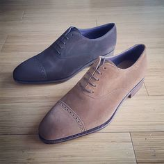 "gentlemensfootwear: ""#CarminaShoemaker #Simpson last quarter brogues in Chocolate Suede and Snuff Suede now in stock! Available now! www.gentlemensfootwear.com Suede colors are always bit hard to..."