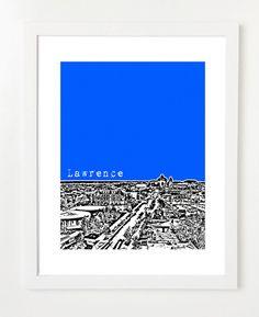 Lawrence Kansas Art Print Lawrence City Skyline by BugsyAndSprite