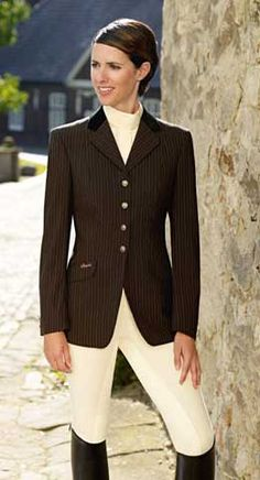 Chocolate brown pin striped show coat w/black velvet collar. Really like this show coat..black is so boring.