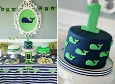 Preppy Blue and Green Whale Birthday Party - Project Nursery