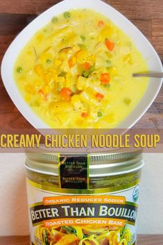 I LOVE soup to the moon and back! This delicious and creamy chicken noodle soup is quick, full of veggies and will have your family eating in under 40 minutes! Chicken Base, Creamy Chicken, Chicken Noodle Soup, Fried Chicken, Cheese Soup, Cheeseburger Chowder, Noodles, Veggies, Healthy Soups