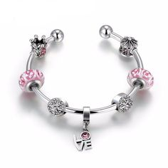 Romantic 925 Silver High Quality Pink Beads Love Hanging Charm Bracelet & Bangle for sale online Jewelry Gifts, Jewelry Accessories, Bangle Bracelets, Bangles, Pandora Rose Gold, Love Charms, Silver Color, 925 Silver, Jewelry Watches