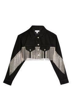 Crystal Fringe Black Denim Hacked Off Jacket Black Denim Jacket Outfit, Cropped Denim Jacket, Denim Kurti, Denim Noir, Jacket Images, Stage, Suit Fashion, Casual, Refashioning Clothes