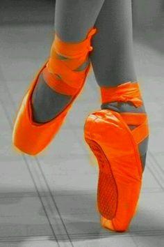 * orange Ballet Shoes. Very Eye Catching.