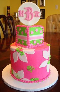 Lilly Pulitzer inspired birthday cake!  I want lilly cakepops for my birthday!!! <3