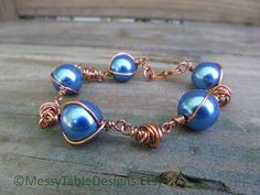 Blue Pearl and Tornado Bracelet by MessyTableDesigns on Etsy, $14.50