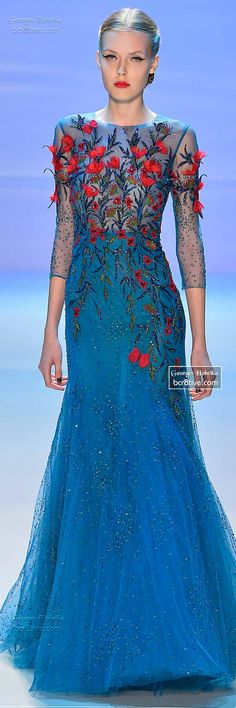 Color, embellishment, silhouette, fabric // Monet's Midnight Stroll by Georges Hobeika FW 2014-15 Couture