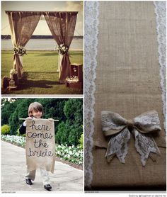 Burlap Wedding - I like the burlap curtains in top left picture