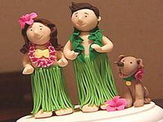 DIY luau-themed wedding cake topper