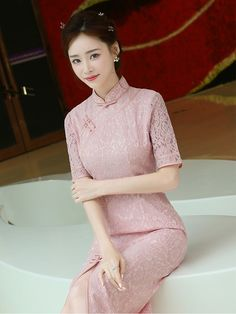 Pink Lace Qipao / Cheongsam Prom Dress with Split Front