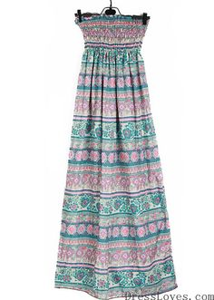 Women Cotton Multi-Colored Halter Strapless Long Free Size Dress@A8096