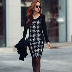 1PC-Women-Sexy-Long-Sleeve-Slim-Bodycon-Grid-Splice-Cocktail-Party-Dress-T17S