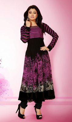 Pink and Black Shade Georgette Long Kalidar Suit Price: Usa Dollar $138, British UK Pound £81, Euro102, Canada CA$150 , Indian Rs7452.