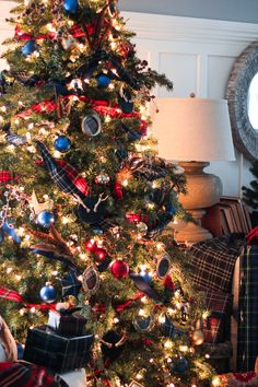 I hope you're having a great weekend. Halloween is now behind us and as the calendar turns over a new month, Christmas will be here before we know it. I don't mean to send you into . Blue Christmas Decor, Tartan Christmas, White Christmas Trees, Gold Christmas Decorations, Beautiful Christmas Trees, Nutcracker Christmas, Christmas Tree Themes, Plaid Christmas, Christmas Traditions