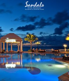 Sandals Royal Bahamian, Just breathtaking at night! Savvy Jewel of the Sea Travel ~ Vacation Destinations Couples, Couples Vacation, Dream Vacations, Vacation Ideas, Bahamas Honeymoon, Bahamas Vacation, Sandals Honeymoon, Nassau Bahamas, Caribbean Resort