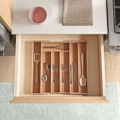 Beautiful Erica Bamboo Adjustable Flatware Drawer Organizer by Dotted Line? storage-sale from top store Kitchen Drawer Organization, Kitchen Drawers, Pantry Storage, Home Decor Furniture, Dining Furniture, Furniture Sale, Cabinet Spice Rack, Clutter Solutions