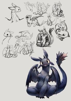 toothless - by ovopack || CHARACTER DESIGN REFERENCES | Find more at https://www.facebook.com/CharacterDesignReferences