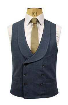 Double Breasted Marine Blue Waistcoat