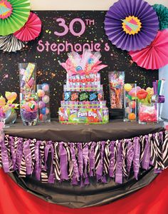 Born in the Neon Birthday Party // Hostess with the Mostess® 80s Birthday Parties, Birthday Party Desserts, Birthday Decorations, 30th Birthday Party For Her, 80s Decorations, 30 Birthday, Birthday Table, Birthday Ideas, Glow Party