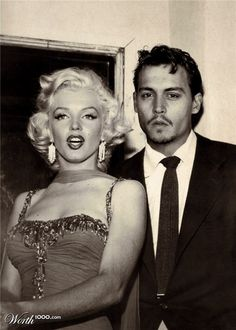 Classic Marilyn:  Very clever photography with Johnny Depp who looks smoking hot in this photo!!