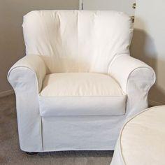 Karen's Custom slipcovers. Heavy weight natural denim slipcover custom made with shaping seams on inner back.