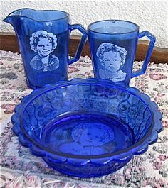 Vintage Cobalt Blue Shirley Temple Bowl, Pitcher and Drinking Glass Antique 1934