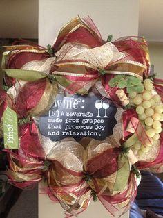 Burgundy and Sage Wine Mesh Wreath