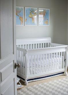 Clean and simple Baby Boy Nursery with DaVinci Kalani Crib on @Ryan Saez form Nursery | Junior