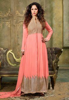 Art Silk Abaya Style in Peach Abaya Fashion, Fashion Dresses, Bollywood Outfits, Salwar Suits Online, Anarkali Dress, Indian Ethnic Wear, Online Dress Shopping, Celebrity Look, Frocks