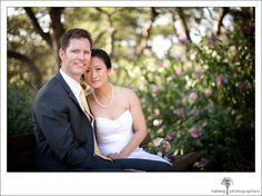 wedding portraits - bride and groom sitting on bench at elings park santa barbara