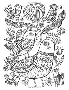 funny finished coloring book pages | A finished page from Happy Doodles Posh Coloring Book by ...