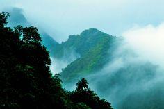 misty Teahupoo mountains