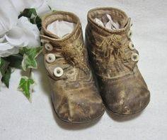 Antique High Top 4 Button Infant Shoes ~
