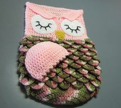 Owl cocoon and cap for newborn by GrammiesHats on Etsy
