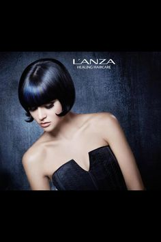 Classy Blue Bob, by L'ANZA healing hair color & product.