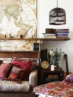 i've always loved bird cages as lamps and maps... traveling hippie, gypsy, freebird - go anywhere