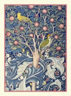 Woodpecker on Tree of Life detail by Arts and Crafts Movement Founder William Morris Counted Cross Stitch or Counted Needlepoint Chart
