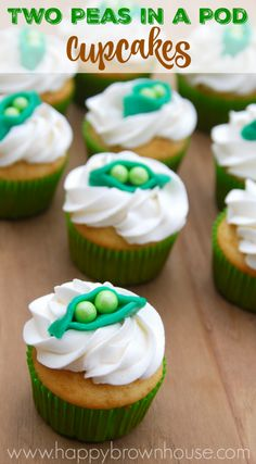 "Need an idea for a twin baby shower? These ""Two Peas in a Pod"" Cupcakes are perfect for a twin baby shower theme. You'll never guess what the edible cupcake toppers are made of!"